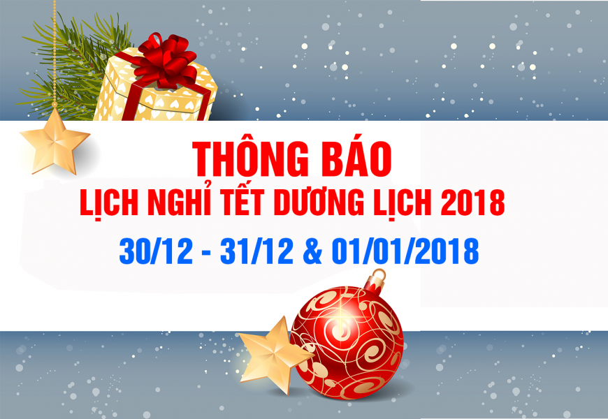 Thông báo lịch nghỉ tết dương lịch 2018
