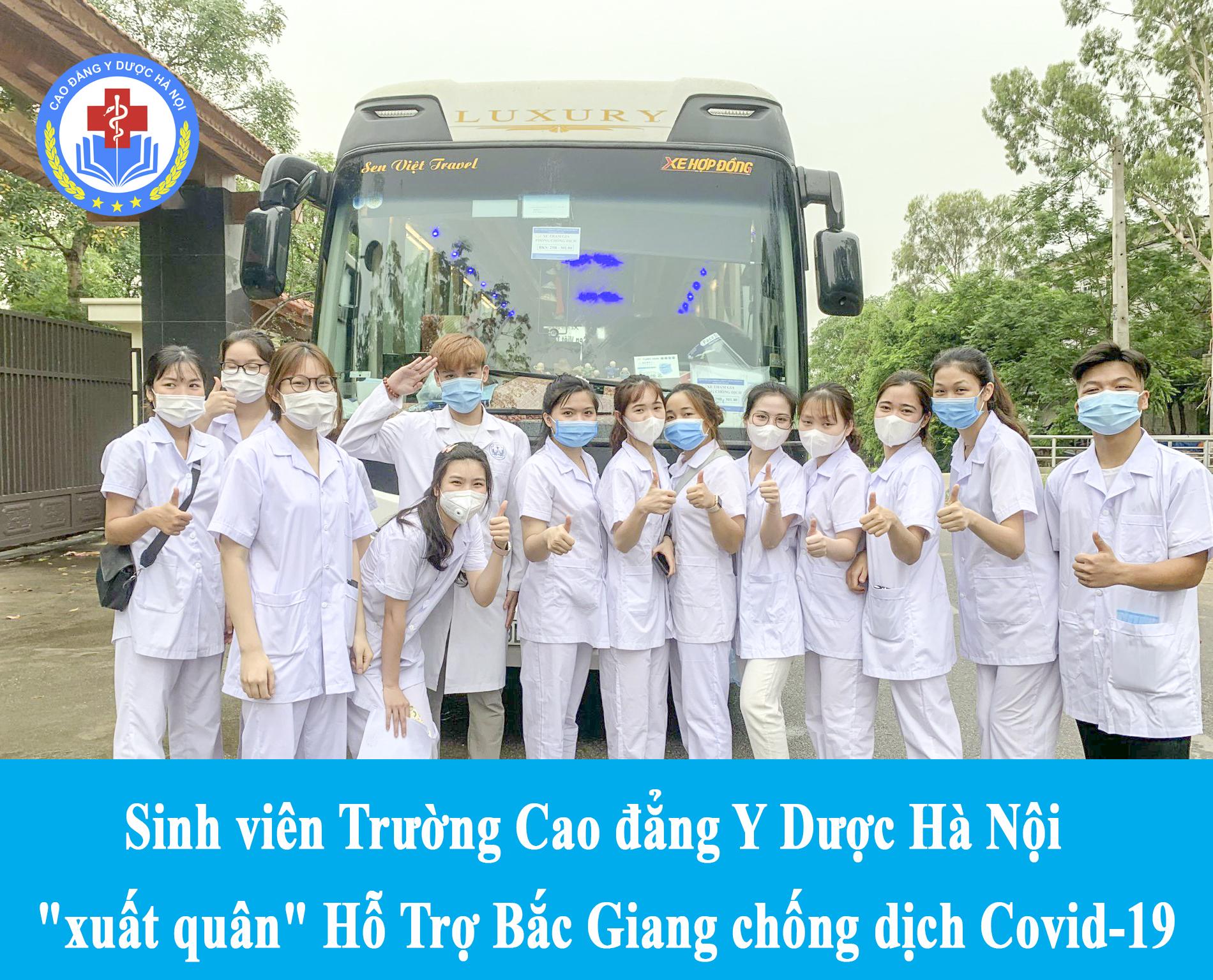 Sinh viên trường Cao đẳng Y Dược Hà Nội tình nguyện tham gia công tác phòng, chống Covid tại tỉnh Bắc Giang